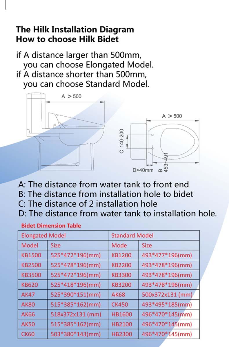AK68 Instant heat Ultrathin Square Wall drainage Intelligent toilet  seat wall-hung smart electronic bidet
